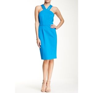 Cynthia Steffe Victoria V-Neck Halter Fitted Dress